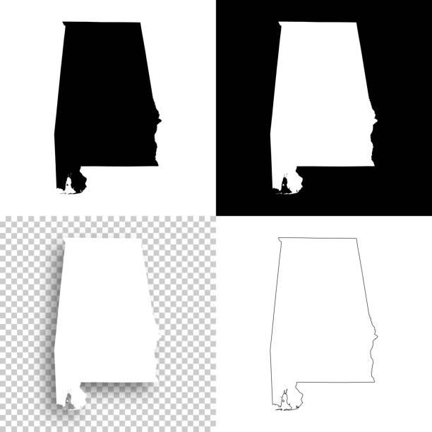 alabama maps for design - blank, white and black backgrounds - alabama stock illustrations