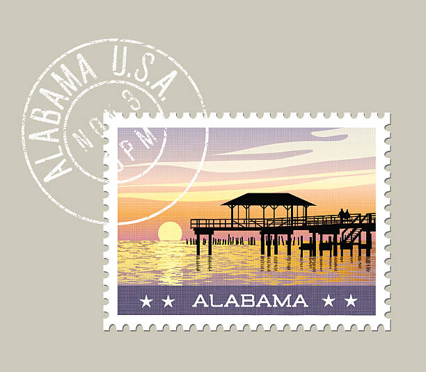alabama postage stamp featuring gulf coast with fishing pier. - alabama 幅插畫檔、美工圖案、卡通及圖標