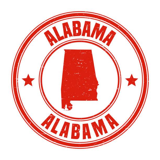 alabama - czerwony stempel z grunge z nazwą i mapą - alabama stock illustrations