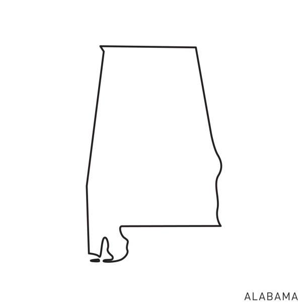 alabama - stany usa zarys mapa szablon wektor ilustracja projekt. edytowalny obrys. - alabama stock illustrations