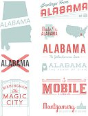 A set of vintage-style icons and typography representing the state of Alabama, including Birmingham, Mobile and Montgomery. Each items is on a separate layer. Includes a layered Photoshop document. Ideal for both print and web elements.