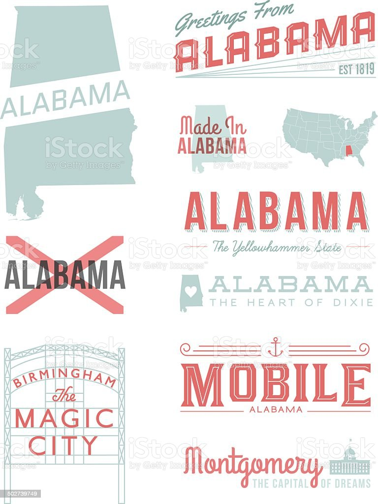 Alabama Typografie – Vektorgrafik