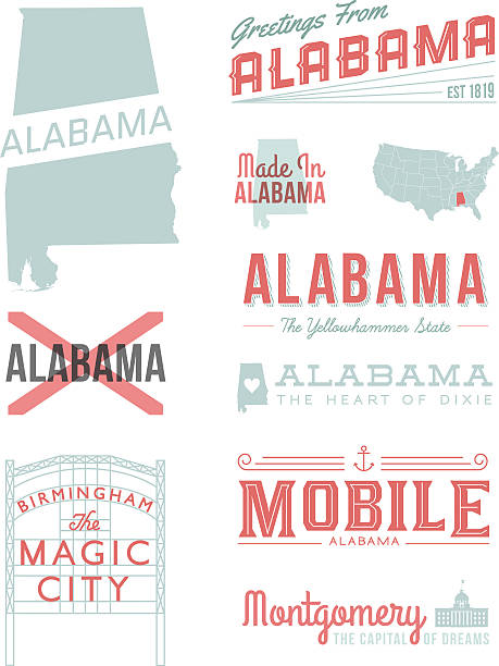 앨라바마 활자 - alabama stock illustrations