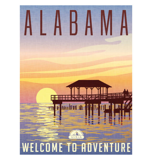 alabama, united states travel poster or luggage sticker. scenic illustration of a fishing pier on the gulf coast at sunset. - alabama stock illustrations