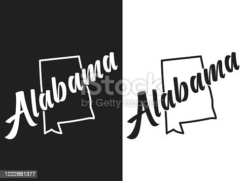 istock Alabama vector logo. Illustration of the USA state emblema. The US state contour on the black and white background. Lettering and outline of the territory of the United States of America 1222881377