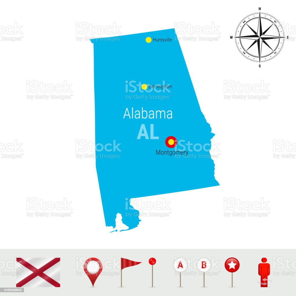 Alabama Vector Map Isolated on White Background. High Detailed Silhouette of Alabama State. Official Flag of Alabama vector art illustration