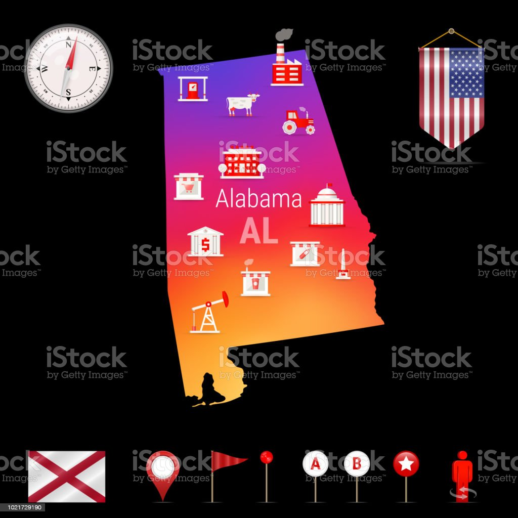 Alabama Vector Map Night View Compass Icon Map Navigation Elements ...