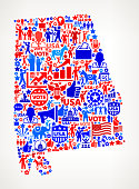 Alabama Vote and Elections USA Patriotic Icon Pattern