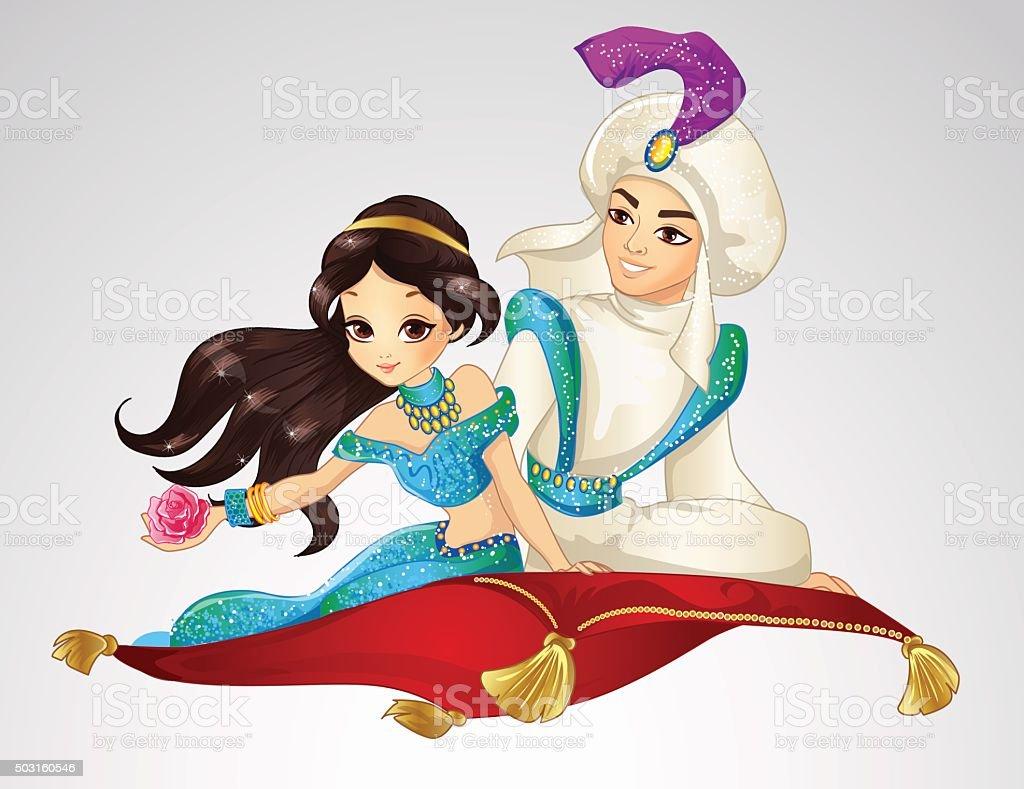 Aladdin And Princess On Flying Carpet vector art illustration