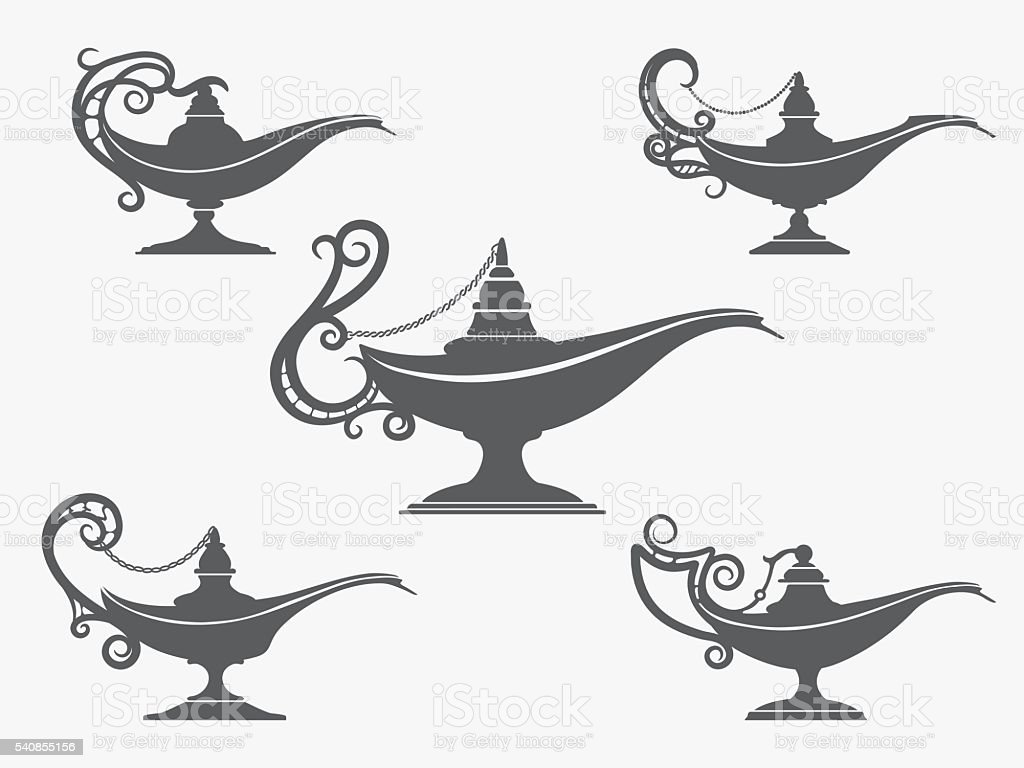Aladdin lamp icon set vector art illustration