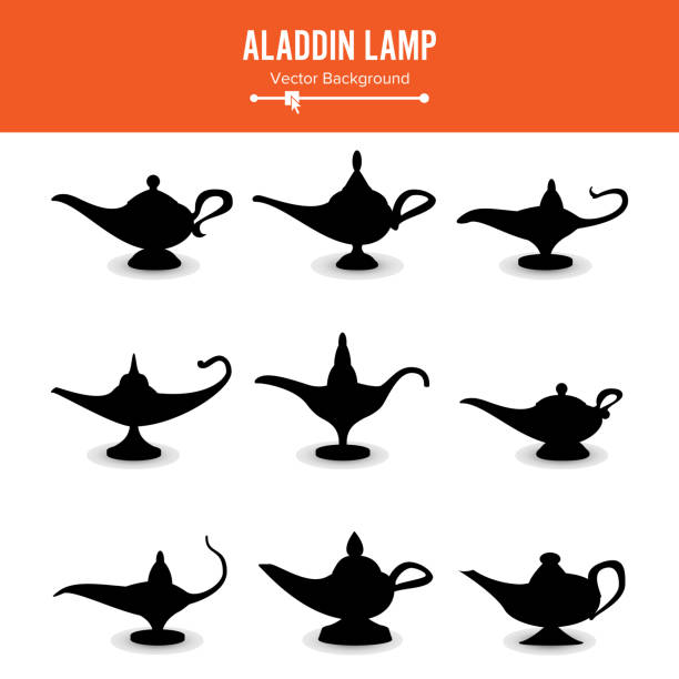 Aladdin lamp Vector. Set Icons Aladdins lamp Signs. Illustration Of Wish And Mystery Souvenir vector art illustration
