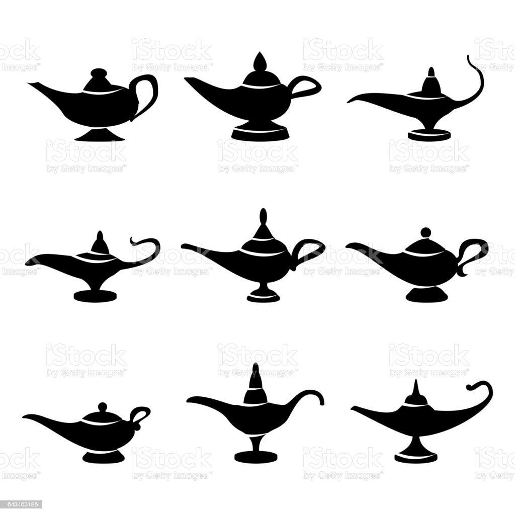 Aladdin lamp Vector. Set Icons Aladdins lamp Signs. Illustration Of Wish And Mystery Souvenir vector art illustration