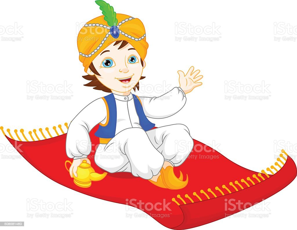 Aladdin on a flying carpet traveling vector art illustration