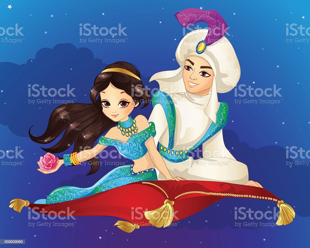 Aladdin On Flying Carpet At Night vector art illustration