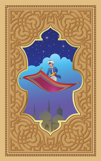 Aladdin with the magic lamp on a flying carpet