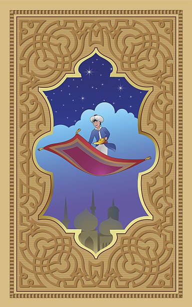 Aladdin with the magic lamp on a flying carpet vector art illustration
