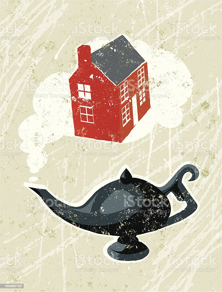 Aladdin's Lamp and House royalty-free stock vector art