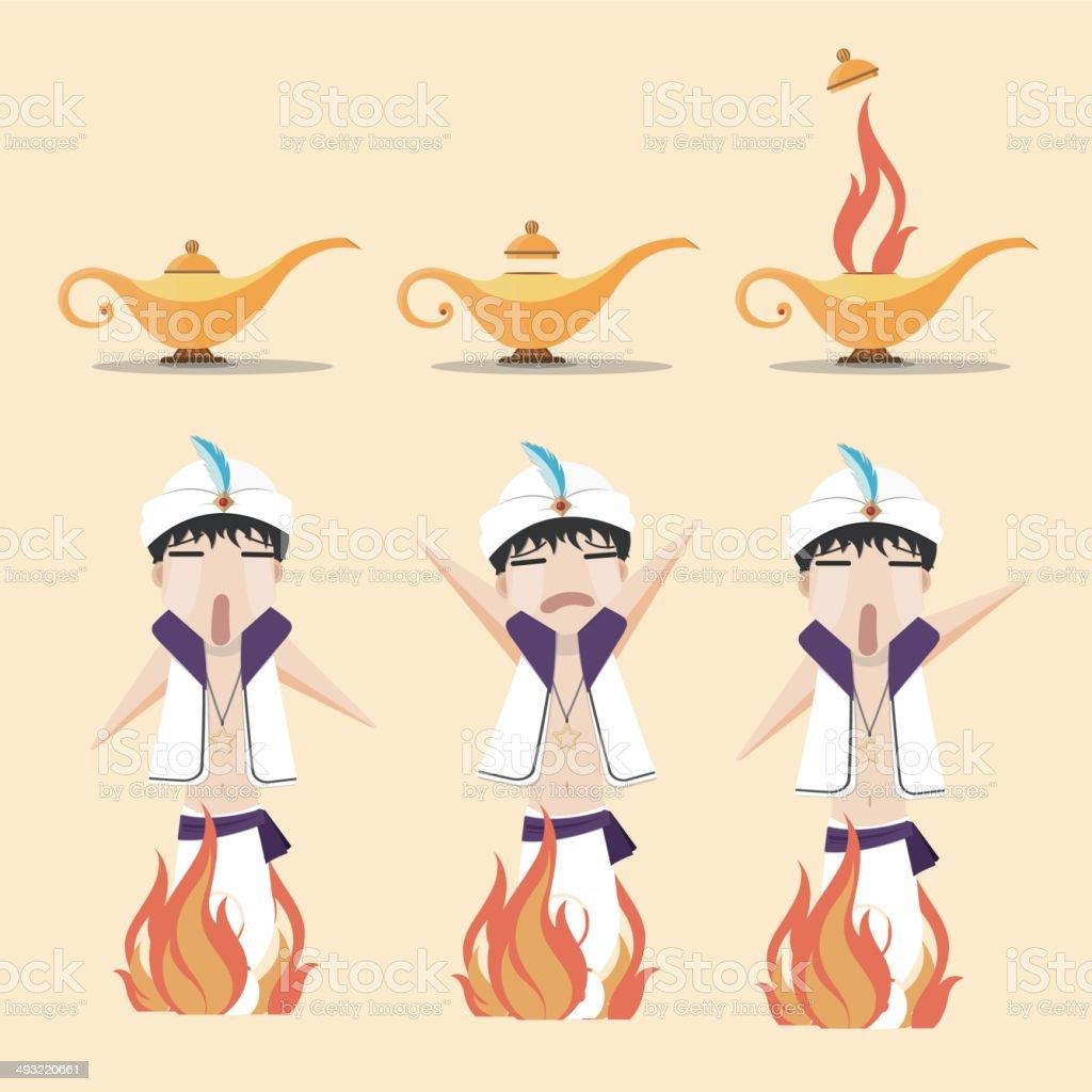 Aladdin's lamp vector art illustration