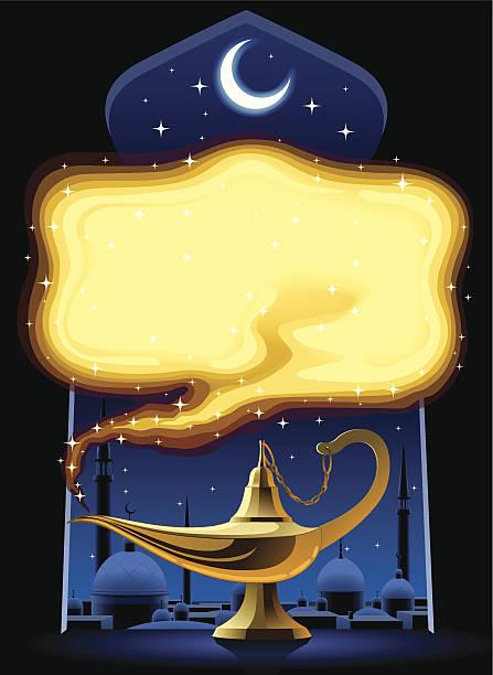 stockillustraties, clipart, cartoons en iconen met aladdin's magic lamp - minaret
