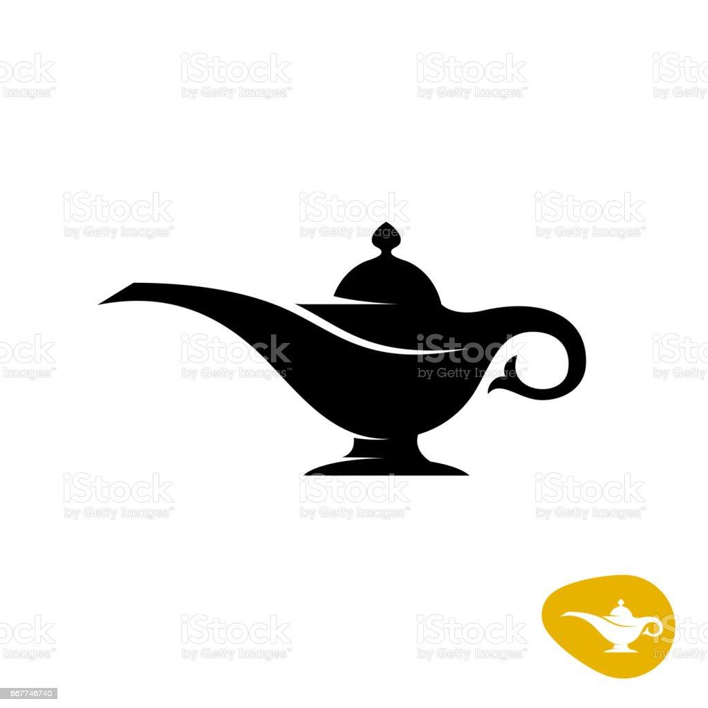 Aladin lamp silhouette. Simple black vector symbol. vector art illustration