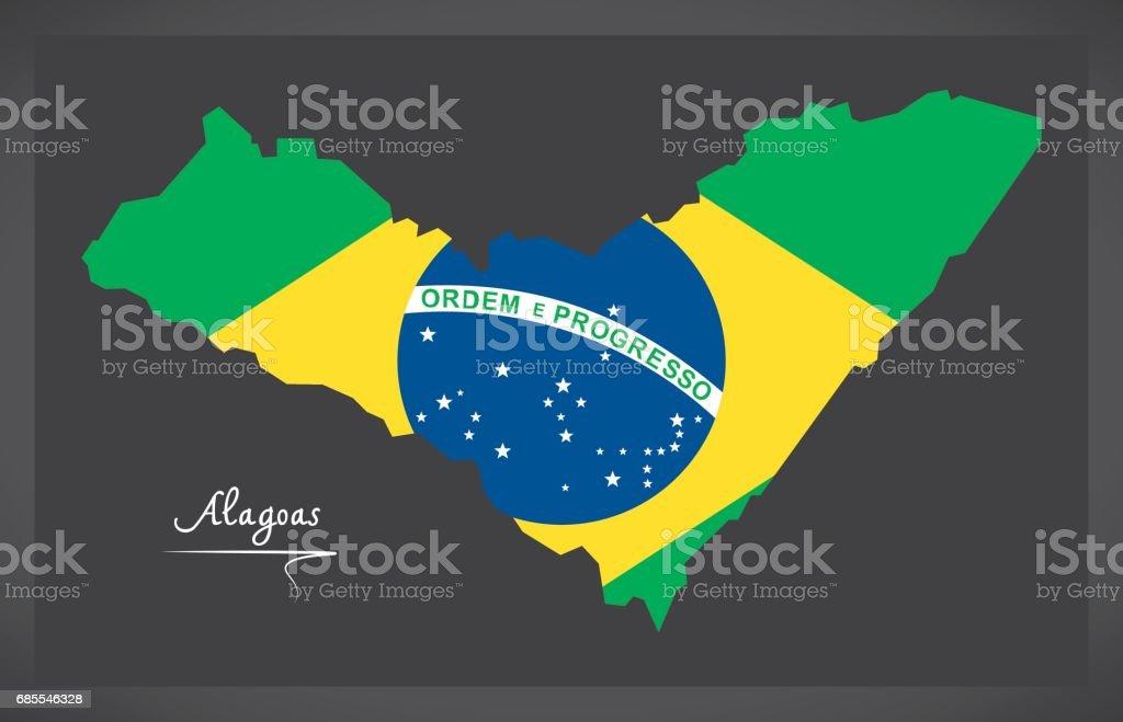 阿拉戈斯地圖與巴西國旗插圖 免版稅 阿拉戈斯地圖與巴西國旗插圖 向量插圖及更多 側影 圖片