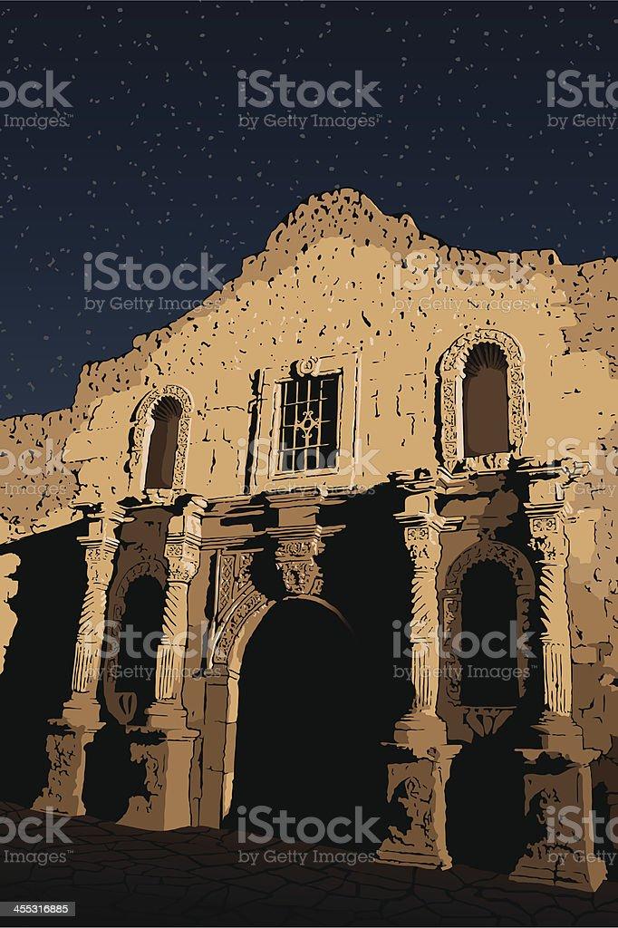 Alamo at Night royalty-free alamo at night stock vector art & more images of alamo - san antonio