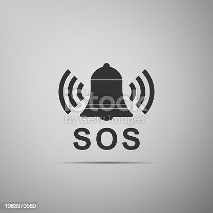 Alarm bell and SOS lettering icon isolated on grey background. Warning bell, help sign. Emergency SOS button. Flat design. Vector Illustration