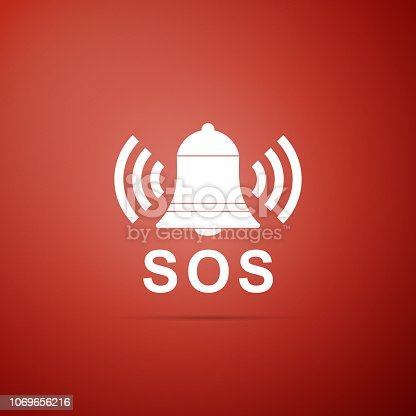 Alarm bell and SOS lettering icon isolated on red background. Warning bell, help sign. Emergency SOS button. Flat design. Vector Illustration