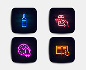 Alarm bell, Brandy bottle and Education icons. Read instruction sign. Time, Whiskey, Quick tips. Opened book. Vector