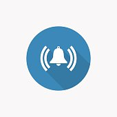 alarm bell Flat Blue Simple Icon with long shadow
