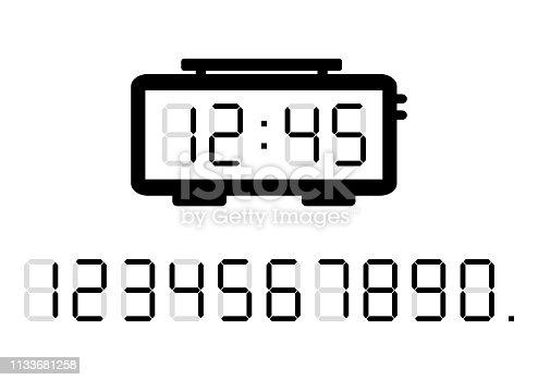 Black alarm clock and calculator digital numbers. Vector illustration