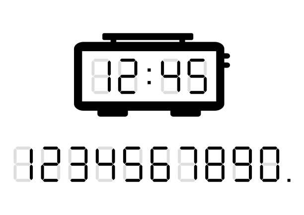 Alarm clock and calculator digital numbers. Vector illustration Black alarm clock and calculator digital numbers. Vector illustration digital display stock illustrations
