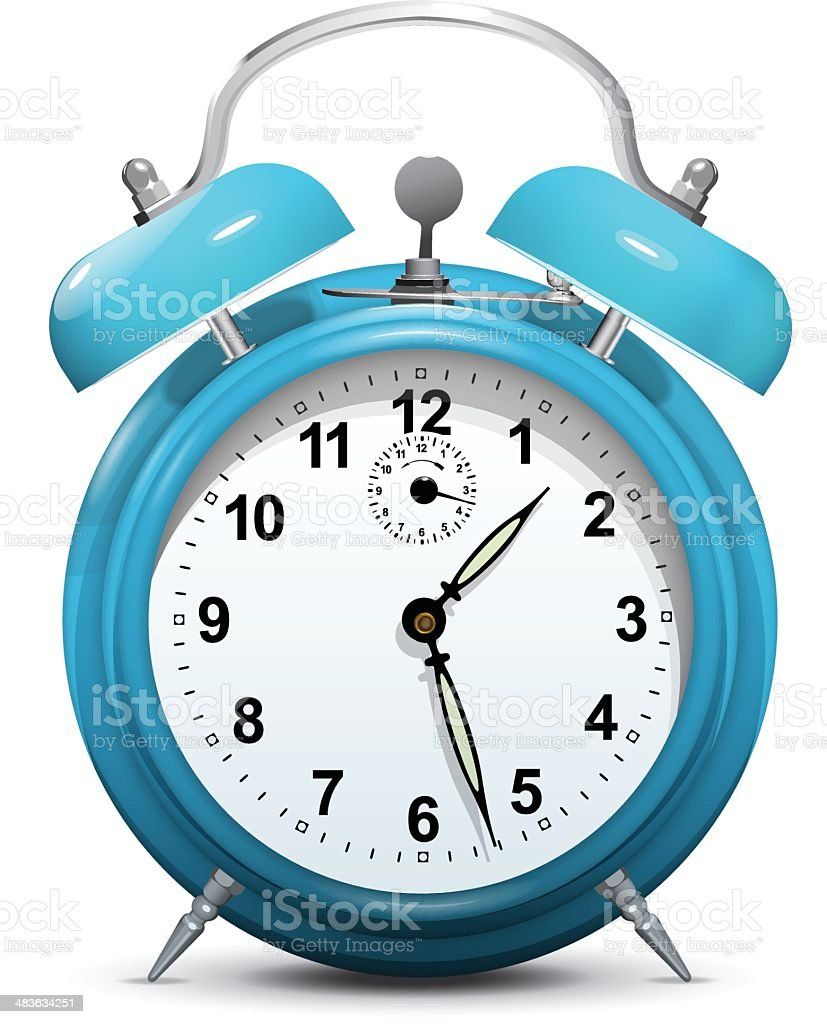 Alarm clock blue isolated on white - vector vector art illustration