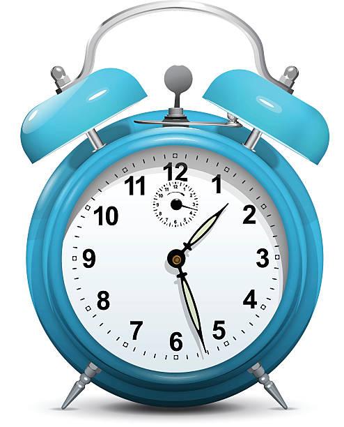 Alarm clock blue isolated on white - vector vector art illustration