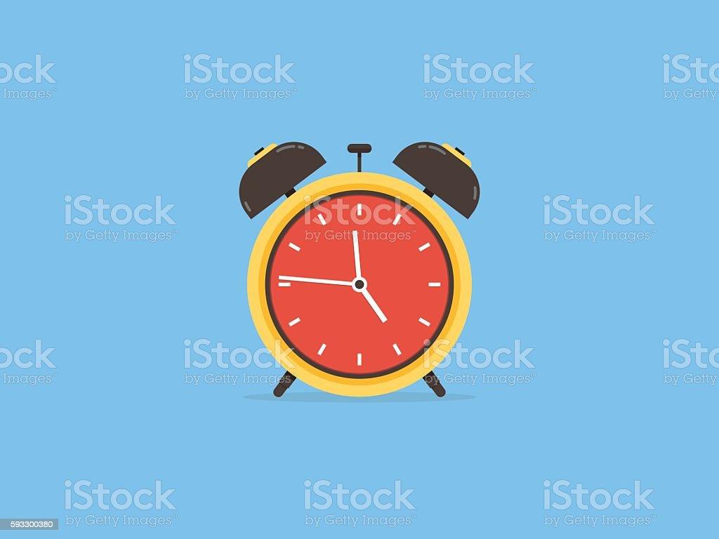 Alarm clock, clock circle time traditional, flat design