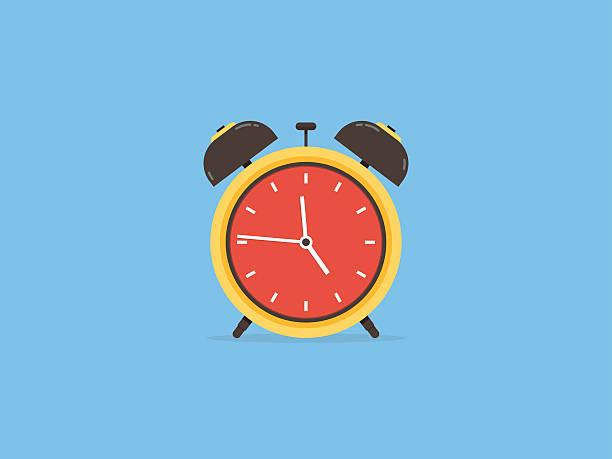 Alarm clock, clock circle time traditional, flat design vector art illustration