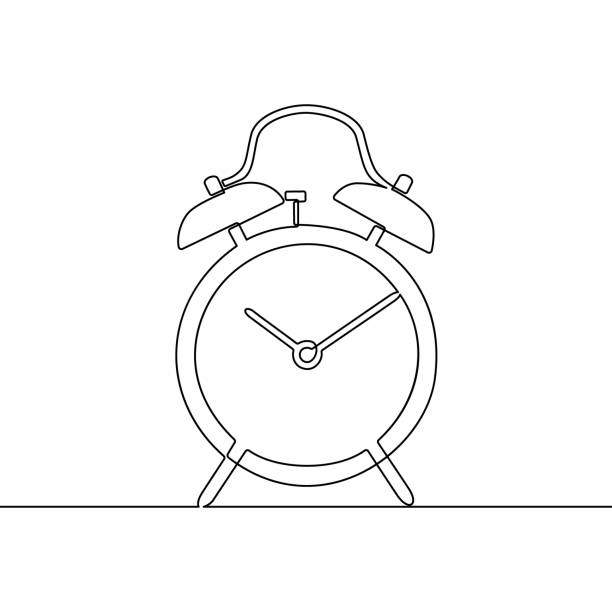 alarm clock continuous one line drawing. black and white sketch vector illustration. - jeden przedmiot stock illustrations