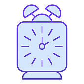 Alarm clock flat icon. Classic table wake-up square watch. School vector design concept, gradient style pictogram on white background