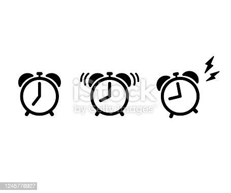 istock Alarm Clock Flat Vector Icon. 1245776927