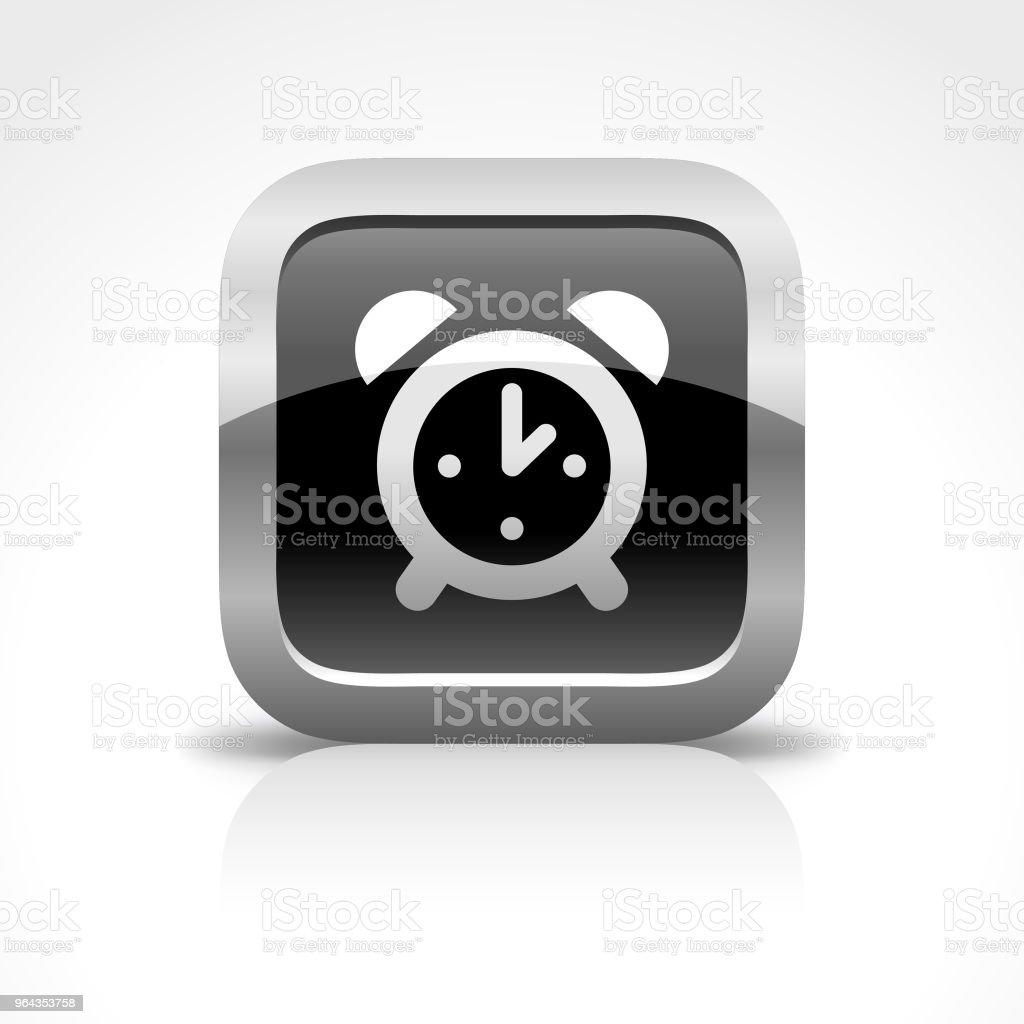 Ícone de botão brilhante de despertador - Vetor de A Data royalty-free
