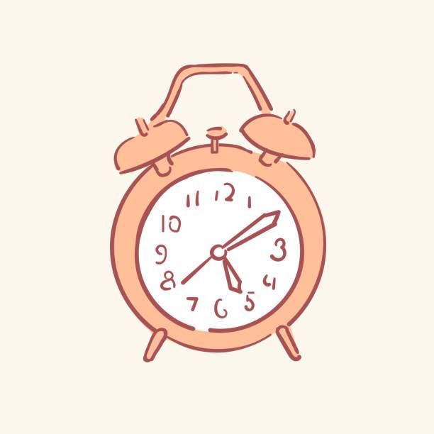 Alarm clock hand drawn style vector doodle design illustrations vector art illustration