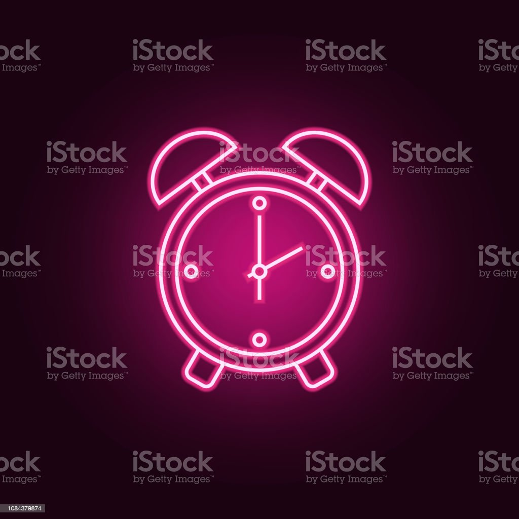 Alarm Clock Icon Elements Of Hotel In Neon Style Icons Simple Icon