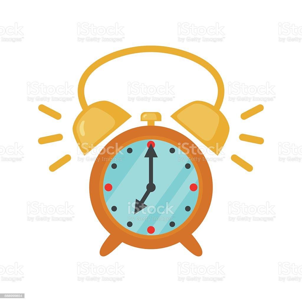 Alarm clock icon in flat style. vector art illustration