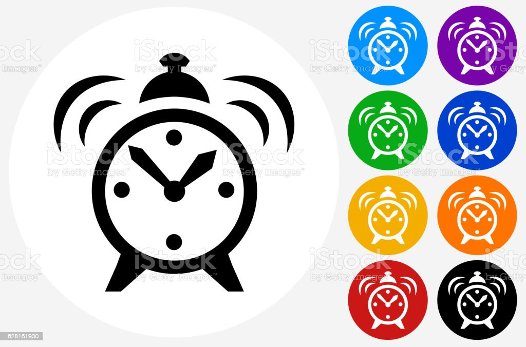 Alarm Clock Icon on Flat Color Circle Buttons vector art illustration