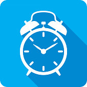 Vector illustration of a blue alarm clock icon in flat style.