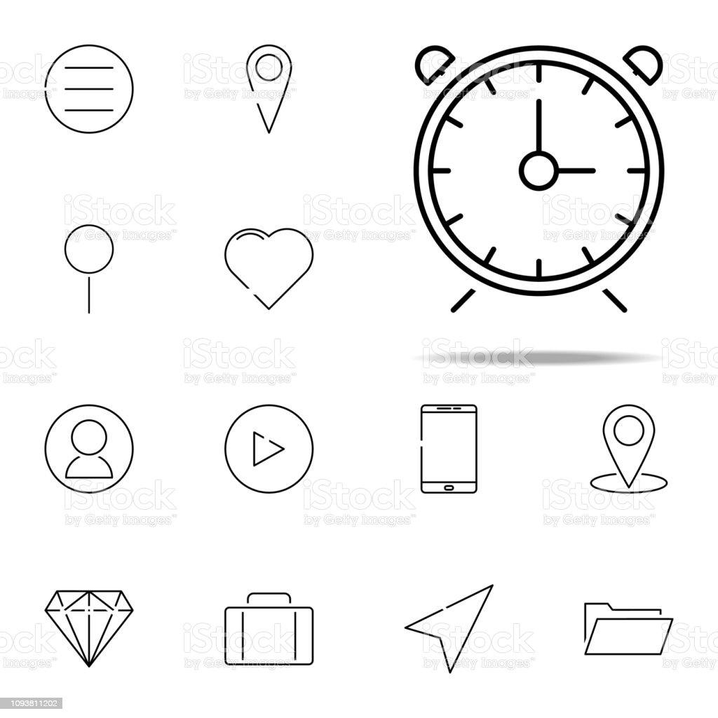 alarm clock icon  web, minimalistic icons universal set for web and mobile  - illustration