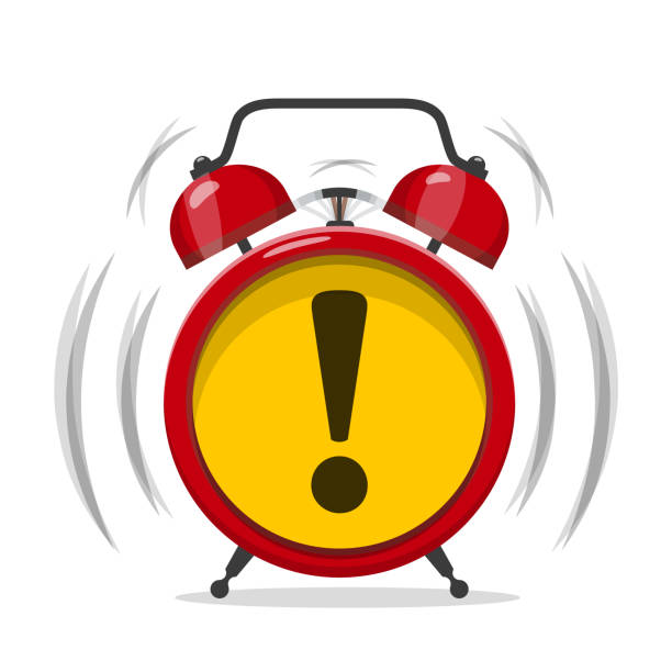 Alarm Clock Icon with Exclamation Mark Alarm Clock Icon with Exclamation Mark. Vector Alert Symbol. deadline stock illustrations