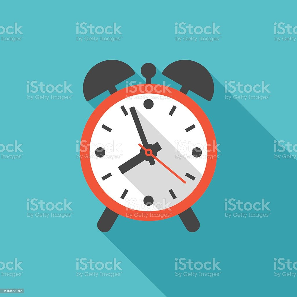 Alarm clock icon with long shadow. vector art illustration
