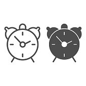 Alarm clock line and solid icon, Back to school concept, table watch sign on white background, retro alarm clock icon in outline style for mobile concept and web design. Vector graphics