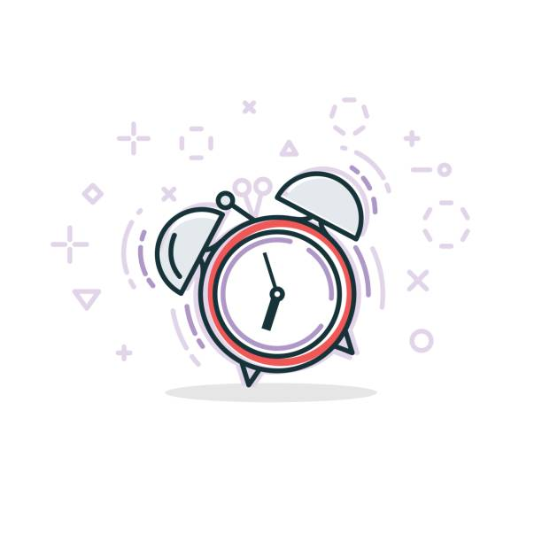 Alarm clock line illustration vector art illustration